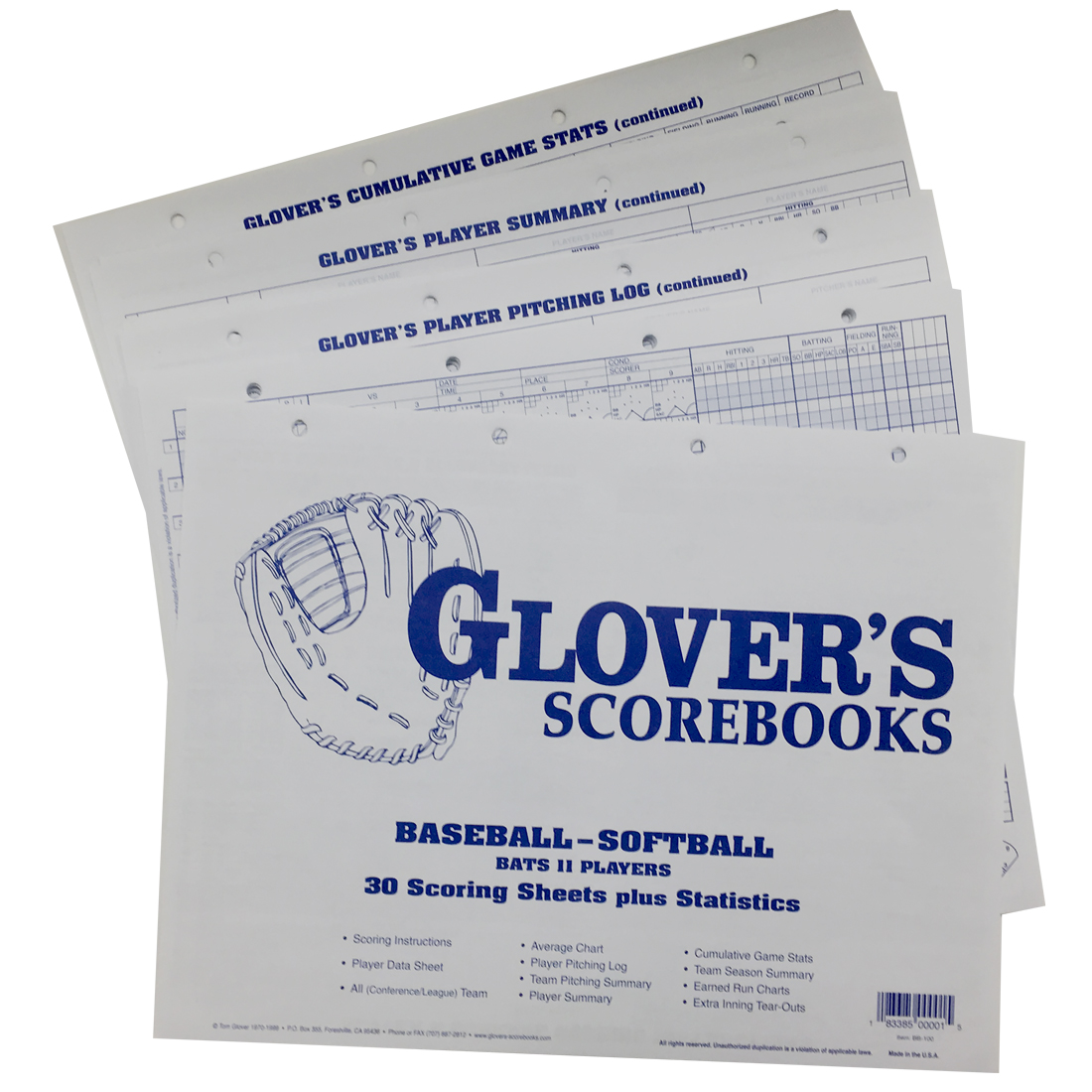 Glovers Scorebook Scoring Sheets - Refill - Longstreth.Com