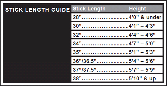 Hockey glove sizes chart
