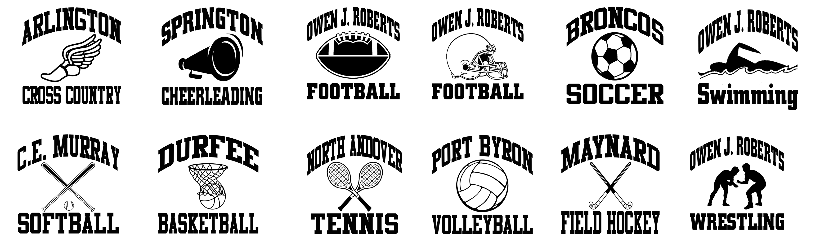 Logo styles showing various sports